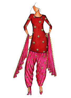 Maroon Art Silk Cowled Patiala Suit