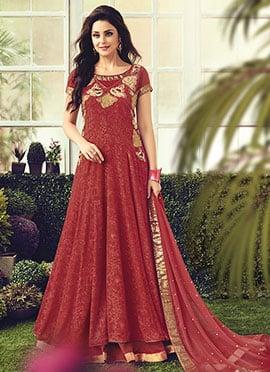 Maroon Chiffon Cotton Abaya Style Anarkali Suit
