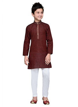 Maroon Cotton Striped Teens Kurta Pyjama