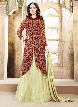 Maroon Art Silk Sharara Suit