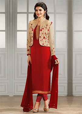 Red Jacket Model Straight Suit