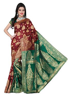 Maroon N Green Jacquard Patli Pallu Saree