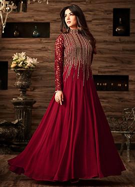 Maroon Net Abaya Style Anarkali Suit