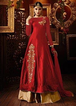 Red Taffeta Silk Long Choli Lehenga