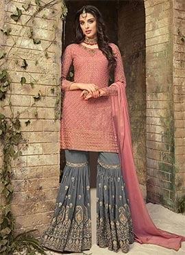 Mauve Embroidered Sharara Suit