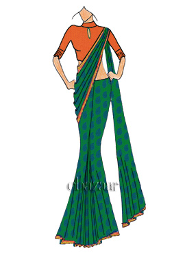 Minimal Embellished Green Makhmali Saree With Cont