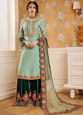Mint Green Embroidered Palazzo Suit