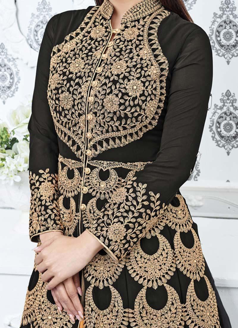 Buy Mouni Roy Black Georgette Layered Anarkali Suit