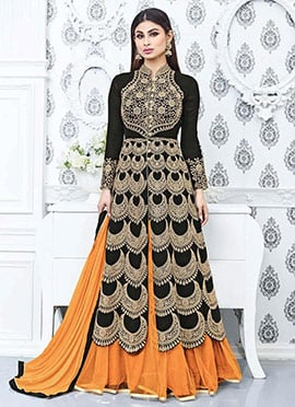 Mouni Roy Black Georgette Layered Anarkali Suit
