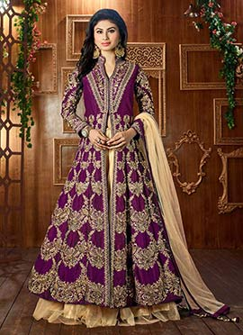 Mouni Roy Purple Long Choli Lehenga