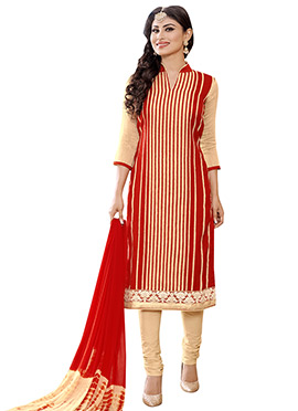 Mouni Roy Red N Beige Churidar Suit