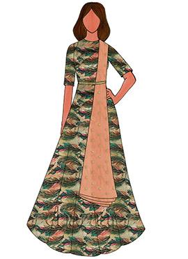Multicolor Digital Printed Taffeta Silk Anarkali S