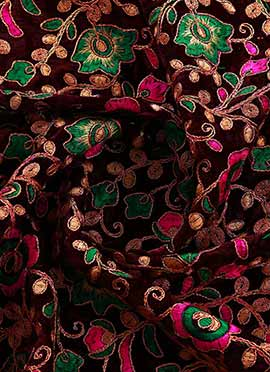 Multicolor Embroidered Velvet Fabric