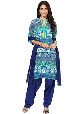 Multicolored Printed Semi Patiala Suit