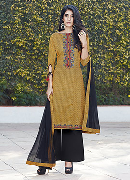 Mustard Blended Cotton Palazzo Suit