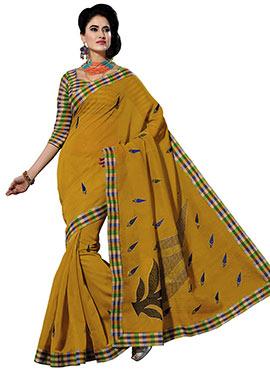 Mustard Cotton Embroidered Saree