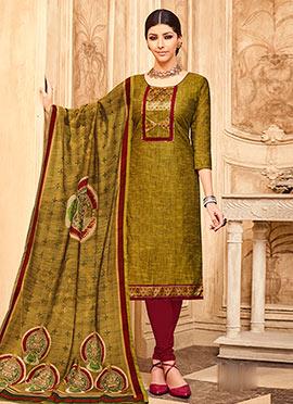 Mustard Green Art Silk Churidar Suit