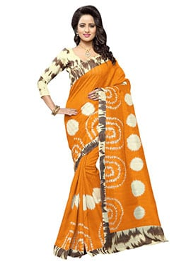 Mustard N Beige Art Silk Saree