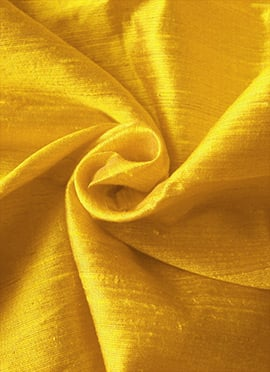 Yellow Art Dupion Silk Fabric