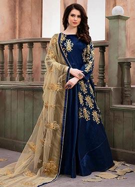 Navy Blue Abaya Style Anarkali Suit