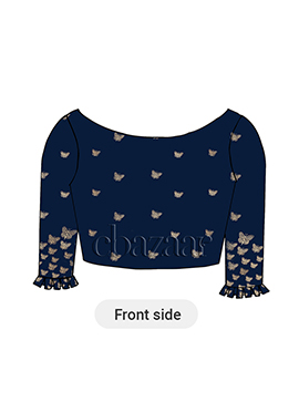 Navy Blue Box Pleated Blouse