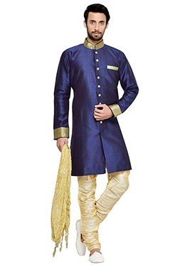 Navy Blue Breeches Style Indowestern Sherwani