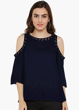 Navy Blue Cotton Cold Shoulder Top