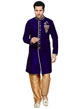 Royal Blue Embroidered Sherwani