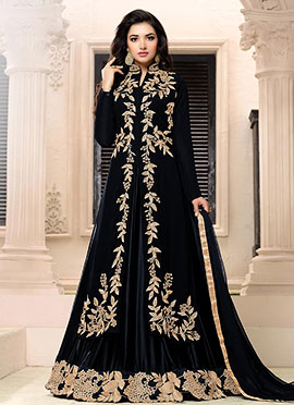 Navy Blue Georgette Umbrella Lehenga