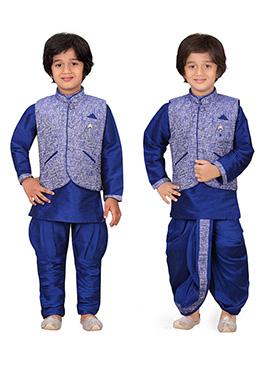 Navy Blue Kids Dhoti Kurta N Bandi Set Combo