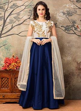 Navy Blue N Off White Abaya Style Anarkali Suit