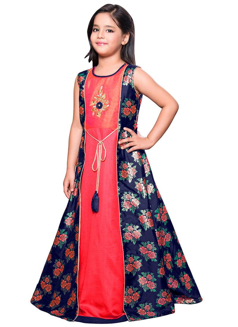 Buy Navy Blue N Peach Art Silk Anarkali Gown, Embroidered, girls ...