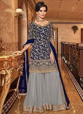 Blue Heavy Work Wedding Salwar Kameez Designer Pakistani Wedding Bridal Dress 43