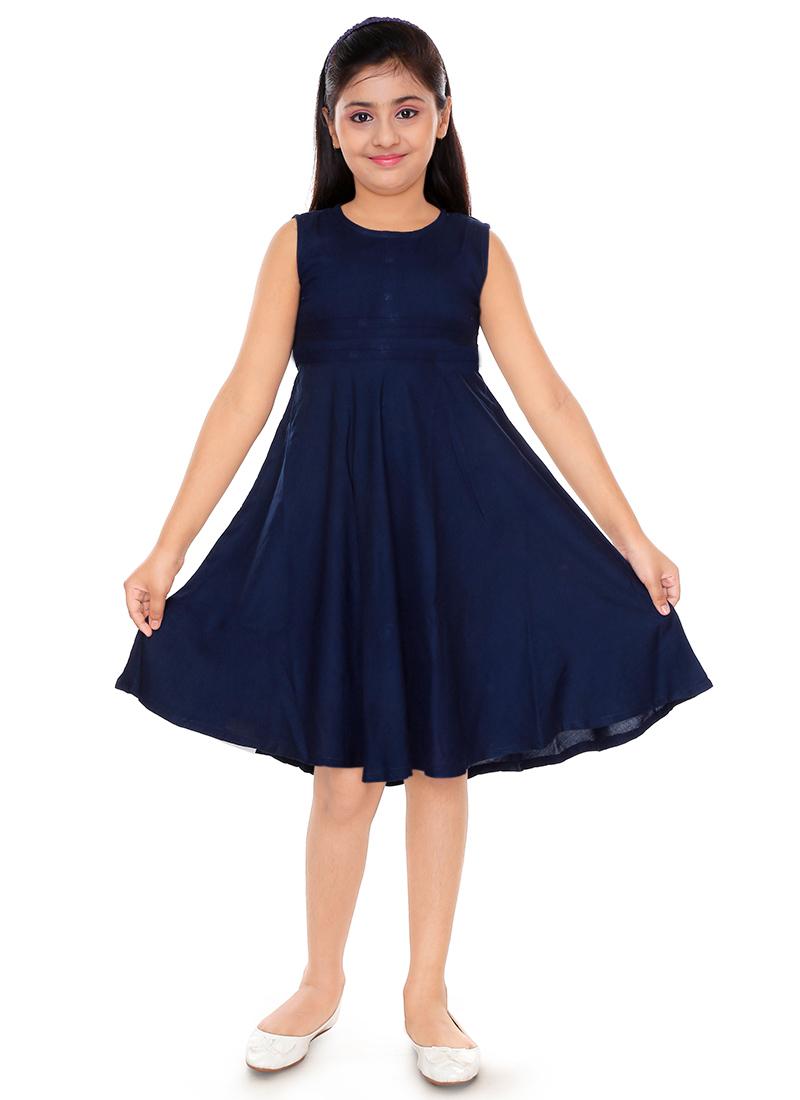 5ff72d22b Buy Navy Blue Plain Girls Dress, Blended Cotton, girls dress Online ...
