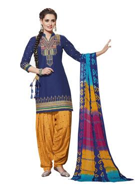 Navy Blue Pure Cotton Salwar Suit