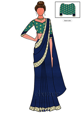 Navy Blue Saree N Sonakshi Sinha Blue Blouse