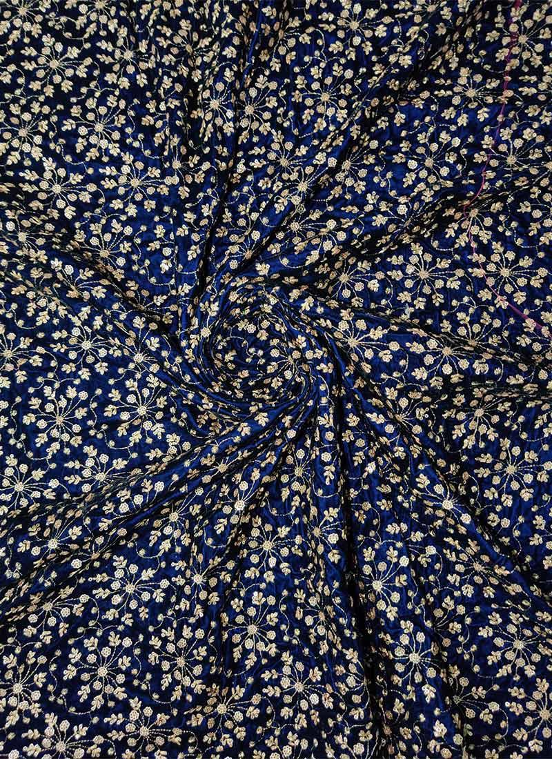 Buy Ethnovogue Navy Blue Velvet Fabric Embroidered Blended Patterned Online Shopping Efv071117215711523