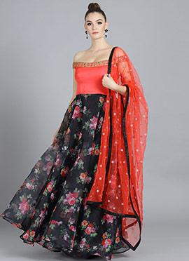 Off Shoulder Black Floral Organza Anarkali suit
