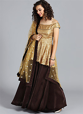 Off Shoulder Gold Sequins Crop Top Lehenga Set