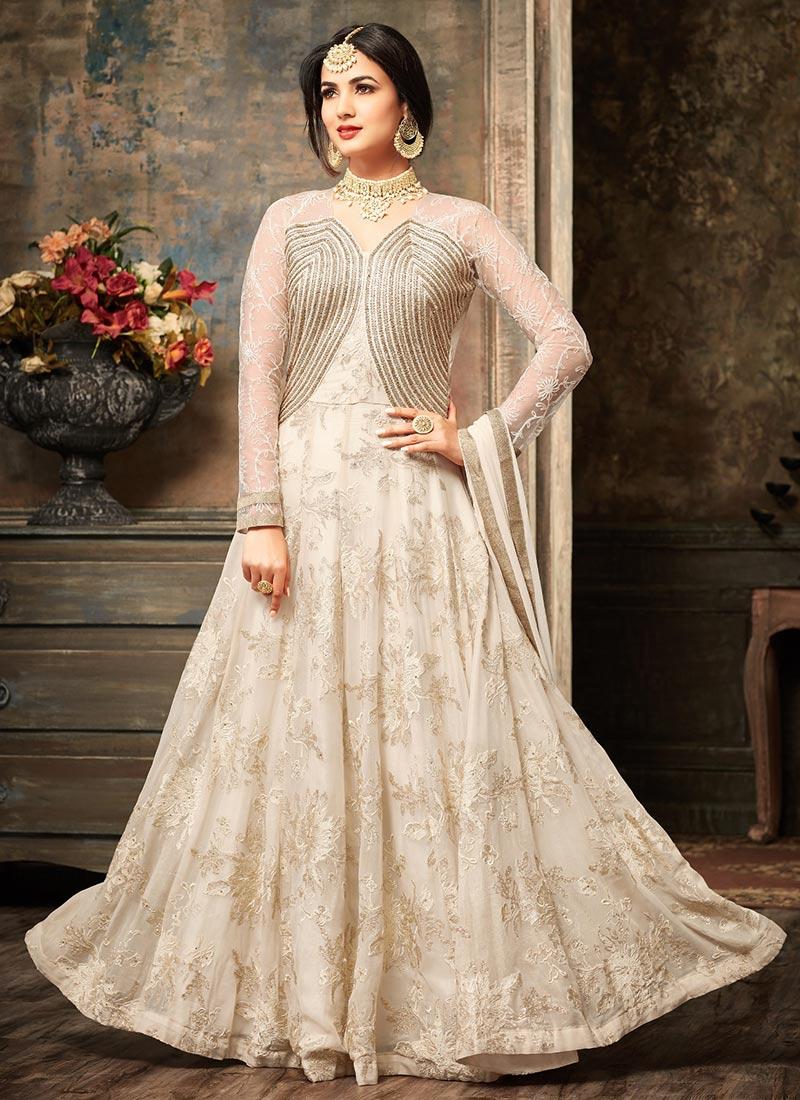 Buy Off White Abaya Style Anarkali Suit, Embroidered, anarkali ...