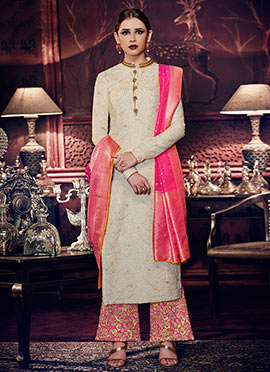 Off White Art Silk Palazzo Suit