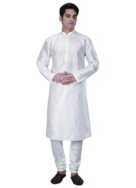 Off White Benarasi Art Dupion Silk Kurta Pyjama
