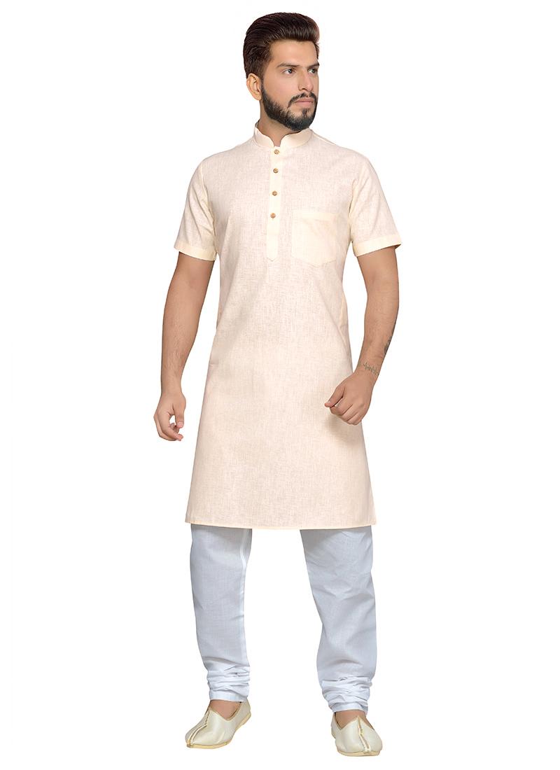 on sale bd48f 936bd Buy Off White Cotton Half Sleeve Kurta Pyjama, Holi, kurta pyjama Online  Shopping | KPMRG1592