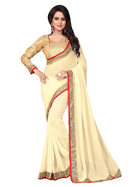 Pale Yellow Georgette Border Saree