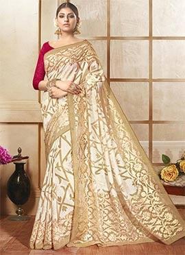 Off White N Beige Bhagalpuri Khadi Silk Saree