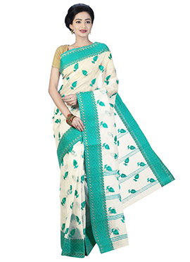 Off White N Green Bengal Handloom Saree