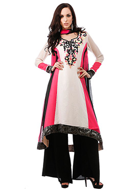 Off White N Pink Asymmetrical Plus Size Kurti