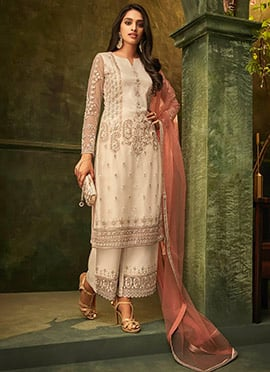 Off White Net Embroidered Palazzo Suit