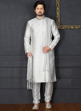 Off White Plain Kurta Pyjama