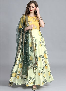 Off White Printed Full Length Anarkali
